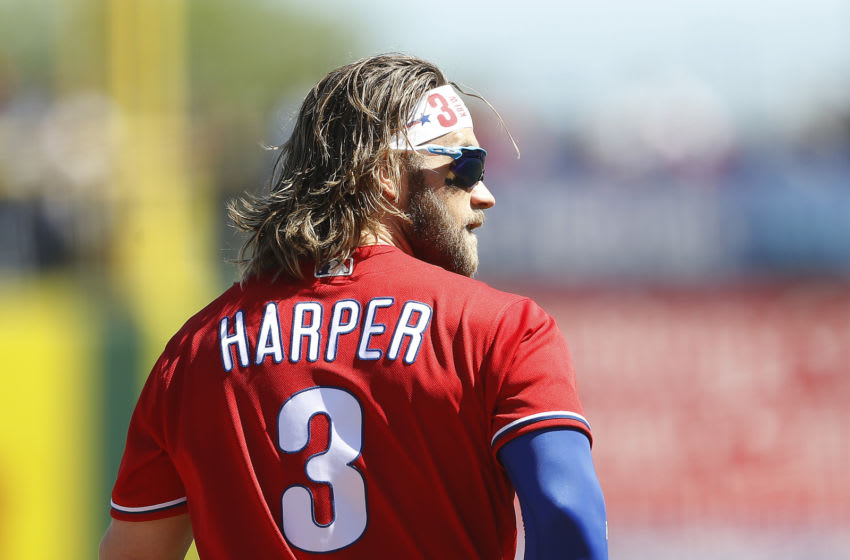 CLEARWATER, FLORIDA - MARCH 07: Bryce Harper #3 of the Philadelphia Phillies looks on against the Boston Red Sox during the second inning of a Grapefruit League spring training game on March 07, 2020 in Clearwater, Florida. (Photo by Michael Reaves/Getty Images)