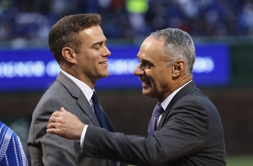 Theo Epstein and MLB Commissioner Rob Manfred (Photo by Jonathan Daniel/Getty Images)