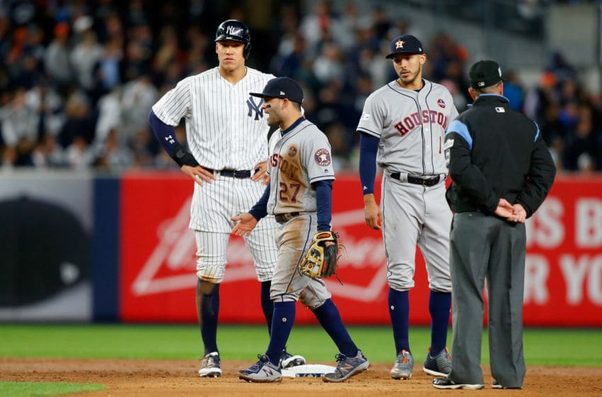 New York Yankees OF Aaron Judge standing on second, which you'll get for free in 2020 (Photo by Jim McIsaac/Getty Images)