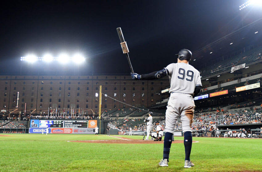 BALTIMORE, MD - AUGUST 07: Aaron Judge #99 of the New York Yankees gets ready to bat against the Baltimore Orioles at Oriole Park at Camden Yards on August 7, 2019 in Baltimore, Maryland. (Photo by G Fiume/Getty Images)