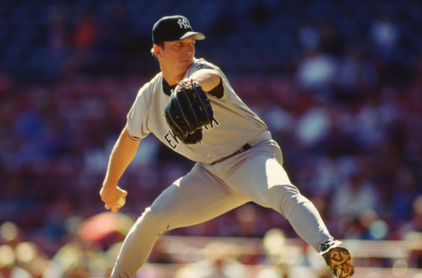 MILWAUKEE - 1995: David Cone of the New York Yankees pitches during an MLB game against the Milwaukee Brewers at County Stadium in Milwaukee, Wisconsin during the 1995 season. (Photo by Ron Vesely/MLB Photos via Getty Images)