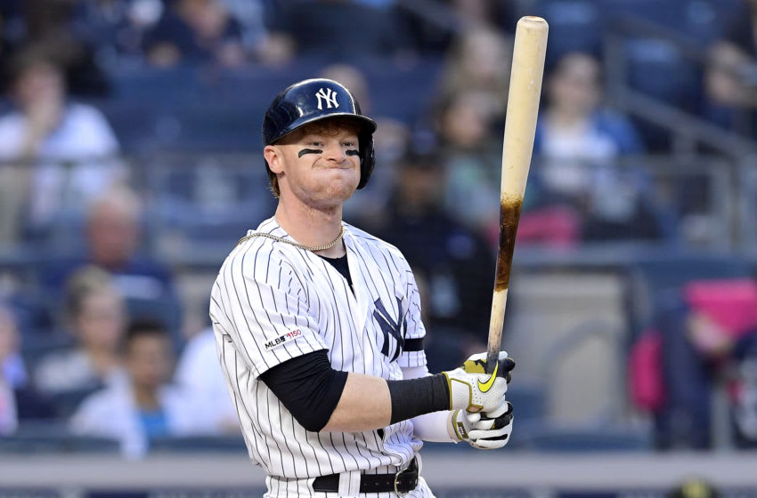Clint Frazier #77 of the New York Yankees reacts against the Tampa Bay Rays at Yankee Stadium on May 17, 2019 in New York City. (Photo by Steven Ryan/Getty Images)