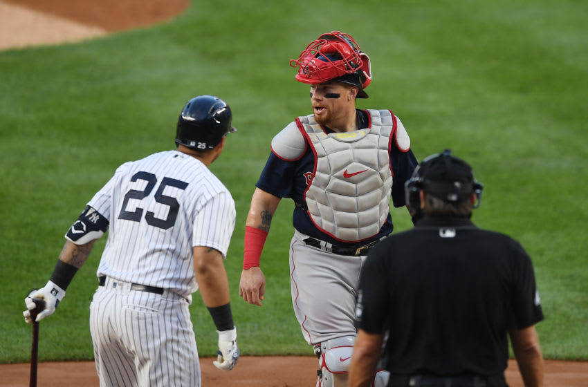 Christian Vazquez #7 of the Boston Red Sox looks on during the first inning against the New York Yankees at Yankee Stadium on August 14, 2020 in the Bronx borough of New York City. (Photo by Sarah Stier/Getty Images)