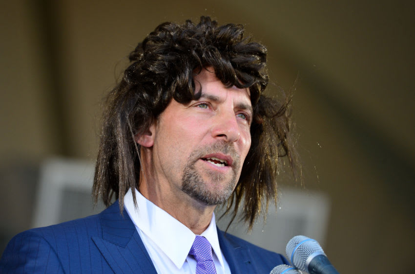 COOPERSTOWN, NY - JULY 26: Hall of Fame inductee John Smoltz speaks while wearing a wig during the Induction Ceremony at National Baseball of Hall of Fame on July 26, 2015 in Cooperstown, New York. (Photo by Jennifer Stewart/Arizona Diamondbacks/Getty Images)