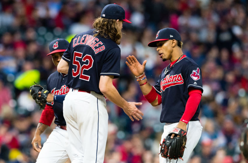 CLEVELAND, OH - MAY 26: Starting pitcher Mike Clevinger #52 celebrates with shortstop Francisco Lindor #12 of the Cleveland Indians as Clevenger leaves the game during the sixth inning against the Kansas City Royals at Progressive Field on May 26, 2017 in Cleveland, Ohio. (Photo by Jason Miller/Getty Images)