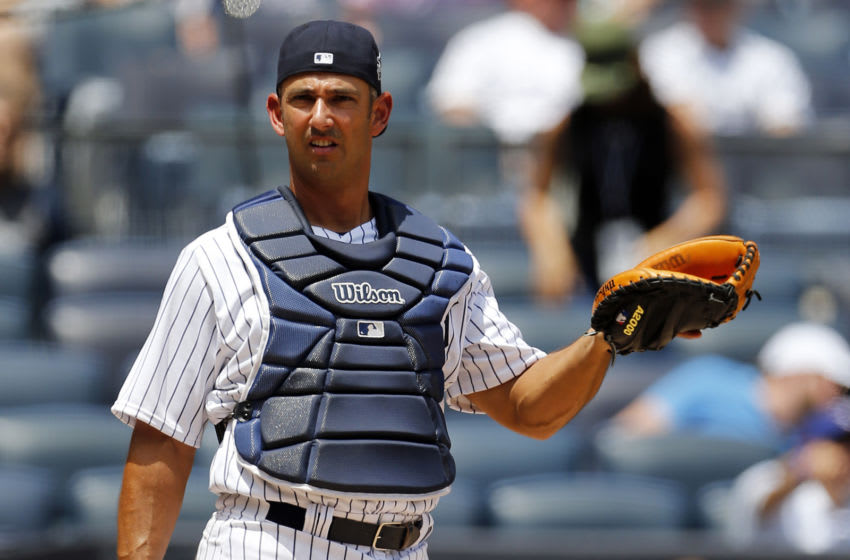 NEW YORK, NY - JUNE 25: Former player Jorge Posada of the New York Yankees takes part in the New York Yankees 71st Old Timers Day game before the Yankees play against the Texas Rangers at Yankee Stadium on June 25, 2017 in the Bronx borough of New York City. (Photo by Adam Hunger/Getty Images)