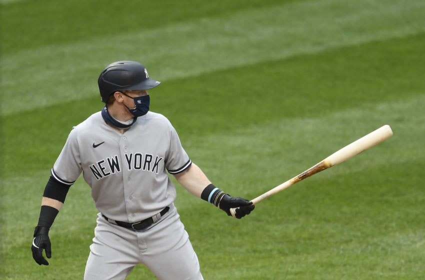 Clint Frazier #77 of the New York Yankees at bat during the fifth inning against the New York Mets at Citi Field on September 03, 2020 in the Queens borough of New York City. (Photo by Sarah Stier/Getty Images)