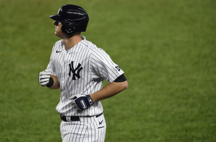 DJ LeMahieu #26 of the New York Yankees looks on during the first inning against the Tampa Bay Rays at Yankee Stadium on September 02, 2020 in the Bronx borough of New York City. (Photo by Sarah Stier/Getty Images)