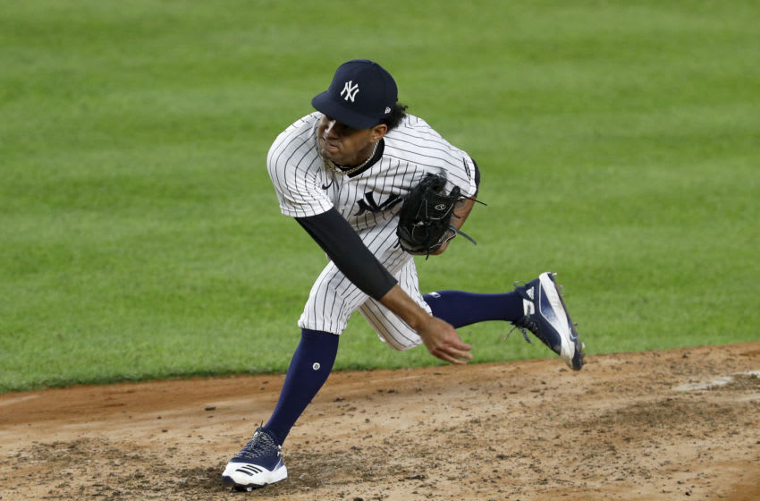 NEW YORK, NEW YORK - SEPTEMBER 15: (NEW YORK DALIES OUT) Deivi Garcia #83 of the New York Yankees in action against the Toronto Blue Jays at Yankee Stadium on September 15, 2020 in New York City. The Yankees defeated the Blue Jays 20-6. (Photo by Jim McIsaac/Getty Images)