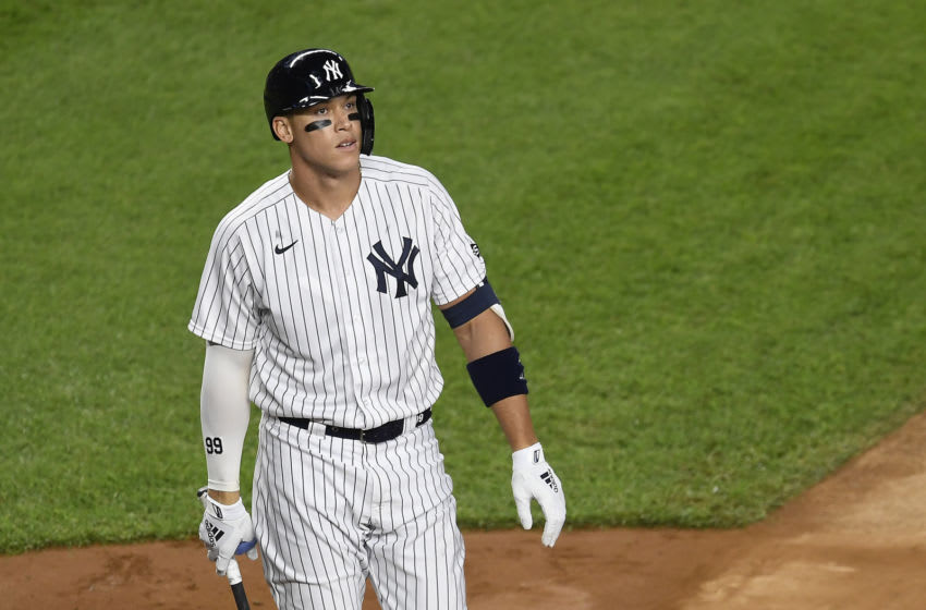 NEW YORK, NEW YORK - SEPTEMBER 16: Aaron Judge #99 of the New York Yankees looks on during the sixth inning against the Toronto Blue Jays at Yankee Stadium on September 16, 2020 in the Bronx borough of New York City. (Photo by Sarah Stier/Getty Images)