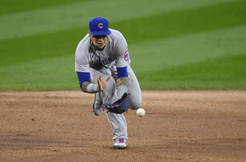 CHICAGO, ILLINOIS - SEPTEMBER 26: Javier Baez #9 of the Chicago Cubs during the game against the Chicago White Sox at Guaranteed Rate Field on September 26, 2020 in Chicago, Illinois. (Photo by Quinn Harris/Getty Images)
