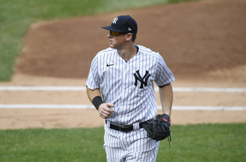 NEW YORK, NEW YORK - SEPTEMBER 27: DJ LeMahieu #26 of the New York Yankees looks on during the second inning against the Miami Marlins at Yankee Stadium on September 27, 2020 in the Bronx borough of New York City. (Photo by Sarah Stier/Getty Images)