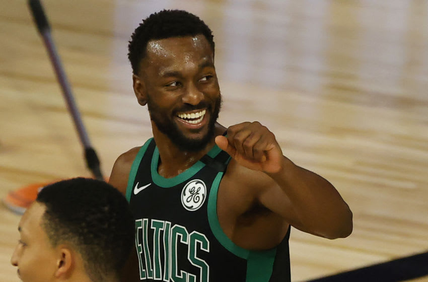 LAKE BUENA VISTA, FLORIDA - AUGUST 30: Kemba Walker #8 of the Boston Celtics celebrates a three point basket against the Boston Celtics during the second quarter in Game One of the Eastern Conference Second Round during the 2020 NBA Playoffs at The Field House at ESPN Wide World Of Sports Complex on August 30, 2020 in Lake Buena Vista, Florida. NOTE TO USER: User expressly acknowledges and agrees that, by downloading and or using this photograph, User is consenting to the terms and conditions of the Getty Images License Agreement. (Photo by Kevin C. Cox/Getty Images)