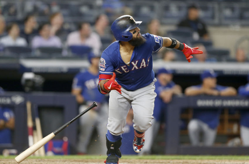 NEW YORK, NEW YORK - SEPTEMBER 04: Rougned Odor #12 of the Texas Rangers follows through on his ninth inning home run against the New York Yankees at Yankee Stadium on September 04, 2019 in New York City. (Photo by Jim McIsaac/Getty Images)