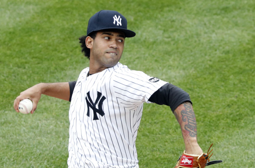 NEW YORK, NY - September 26: Pitcher Deivi Garcia #83 of the New York Yankees pitches in an interleague MLB baseball game against the Miami Marlins on September 26, 2020 at Yankee Stadium in the Bronx borough of New York City. Yankees won 11-4. (Photo by Paul Bereswill/Getty Images)