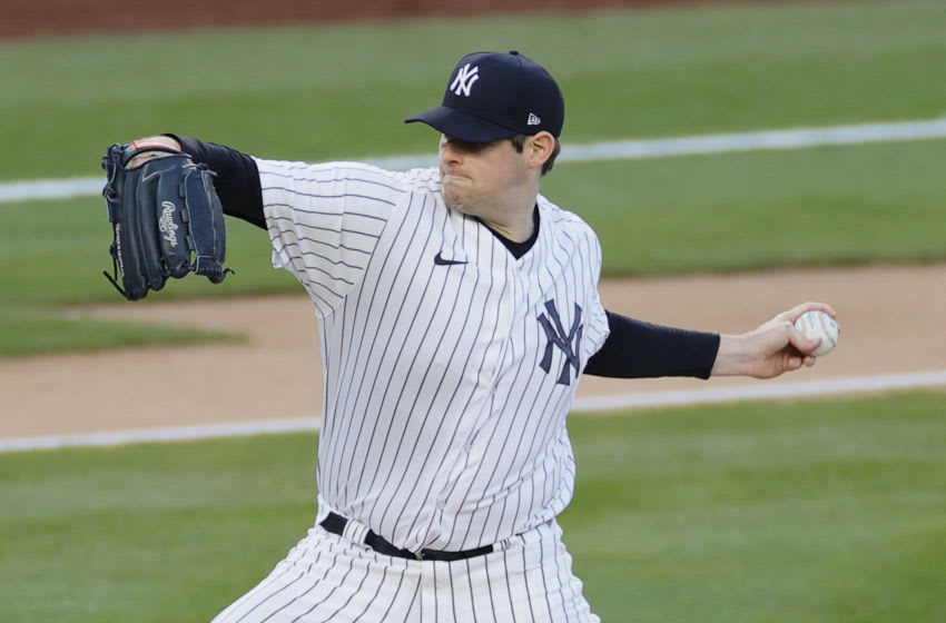 NEW YORK, NEW YORK - APRIL 05: Jordan Montgomery #47 of the New York Yankees pitches during the first inning against the Baltimore Orioles at Yankee Stadium on April 05, 2021 in the Bronx borough of New York City. (Photo by Sarah Stier/Getty Images)