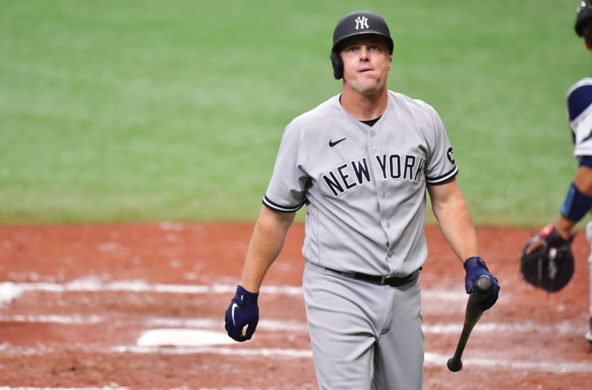 ST PETERSBURG, FLORIDA - APRIL 10: Jay Bruce #30 of the New York Yankees reacts to a strike out in the fifth inning against the Tampa Bay Rays at Tropicana Field on April 10, 2021 in St Petersburg, Florida. (Photo by Julio Aguilar/Getty Images)