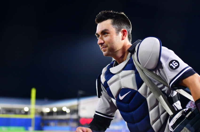 DUNEDIN, FLORIDA - APRIL 12: Kyle Higashioka #66 of the New York Yankees runs off the field after defeating the Toronto Blue Jays 3-1 at TD Ballpark on April 12, 2021 in Dunedin, Florida. (Photo by Julio Aguilar/Getty Images)