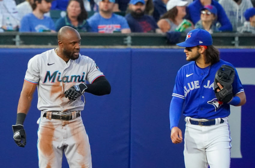 BUFFALO, NY - JUNE 1: Starling Marte #6 of the Miami Marlins and Bo Bichette #11 of the Toronto Blue Jays during the game at Sahlen Field on June 1, 2021 in Buffalo, New York. (Photo by Kevin Hoffman/Getty Images)