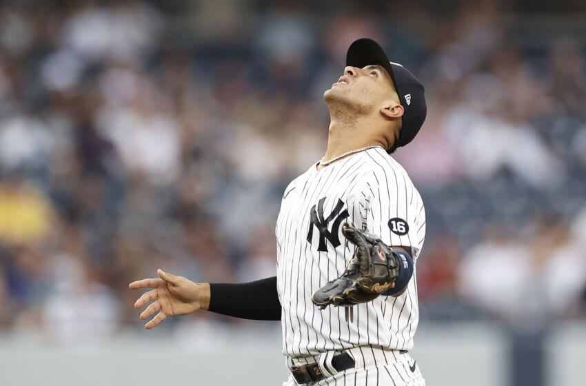 NEW YORK, NY - JULY 16: Gleyber Torres #25 of the New York Yankees in action during the first inning against the Boston Red Sox at Yankee Stadium on July 16, 2021 in the Bronx borough of New York City. (Photo by Adam Hunger/Getty Images)