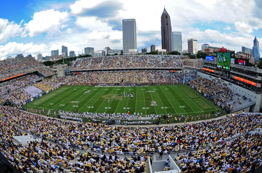 ATLANTA, GA - SEPTEMBER 12: A general view of Bobby Dodd Stadium during the game between the of the Georgia Tech Yellow Jackets and the Tulane Green Wave on September 12, 2015 in Atlanta, Georgia. Photo by Scott Cunningham/Getty Images)