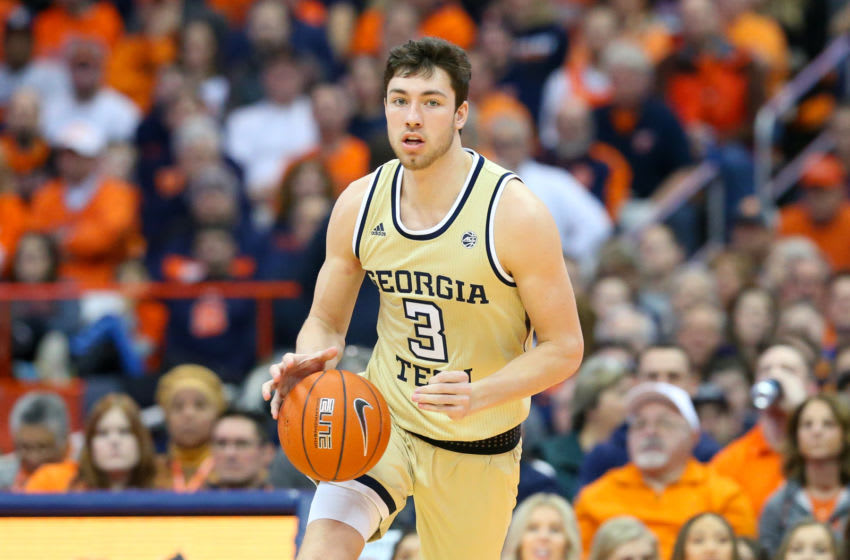 SYRACUSE, NY - JANUARY 12: Evan Cole #3 of the Georgia Tech Yellow Jackets dribbles up the court against the Syracuse Orange during the first half at the Carrier Dome on January 12, 2019 in Syracuse, New York. (Photo by Rich Barnes/Getty Images)
