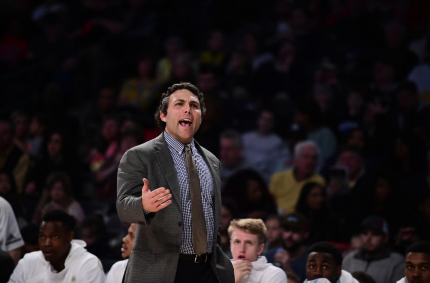 ATLANTA, GEORGIA - JANUARY 19: Head coach Josh Pastner of the Georgia Tech Yellow Jackets talks to his team against the Louisville Cardinals at Hank McCamish Pavilion on January 19, 2019 in Atlanta, Georgia. (Photo by Logan Riely/Getty Images)