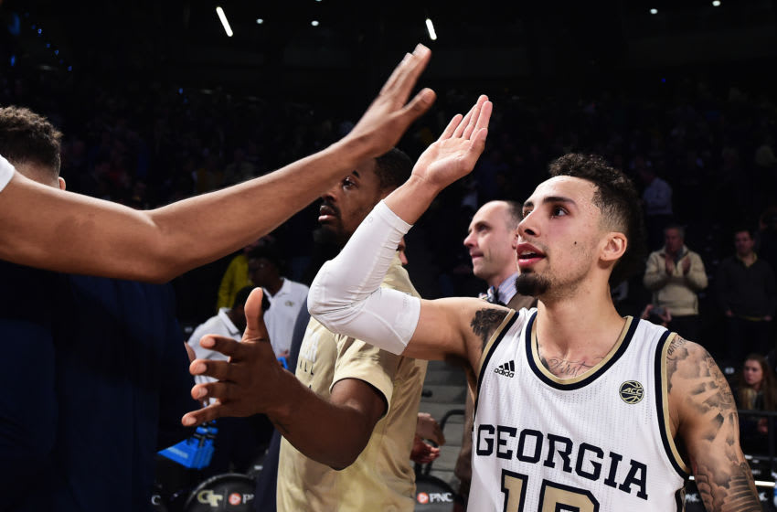ATLANTA, GEORGIA - JANUARY 22: Jose Alvarado #10 of the Georgia Tech Yellow Jackets celebrates with teammates after the game against the Notre Dame Fighting Irish at Hank McCamish Pavilion on January 22, 2019 in Atlanta, Georgia. (Photo by Logan Riely/Getty Images)