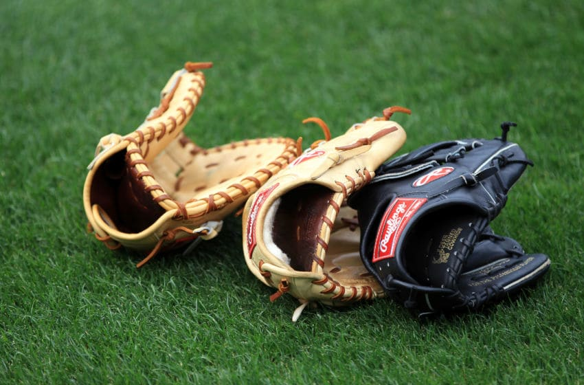 ATLANTA, GA - APRIL 08: A general view of baseball gloves ahead of the Philadephia Phillies versus Atlanta Braves during their opening day game at Turner Field on April 8, 2011 in Atlanta, Georgia. (Photo by Streeter Lecka/Getty Images)