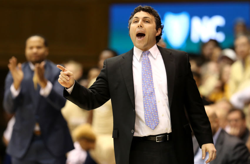 DURHAM, NORTH CAROLINA - JANUARY 26: Head coach Josh Pastner of the Georgia Tech Yellow Jackets reacts during their game against the Duke Blue Devils at Cameron Indoor Stadium on January 26, 2019 in Durham, North Carolina. (Photo by Streeter Lecka/Getty Images)