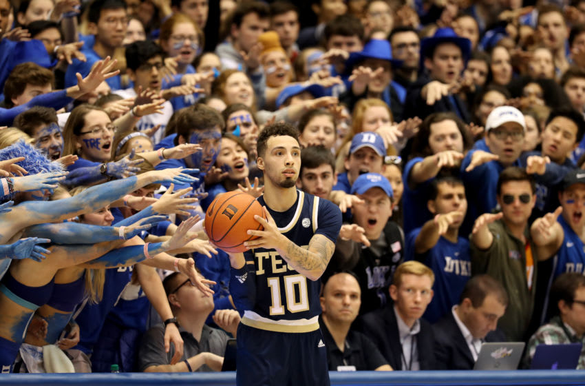 DURHAM, NORTH CAROLINA - JANUARY 26: Jose Alvarado #10 of the Georgia Tech Yellow Jackets looks to throw the ball inbounds against the Duke Blue Devils during their game at Cameron Indoor Stadium on January 26, 2019 in Durham, North Carolina. (Photo by Streeter Lecka/Getty Images)