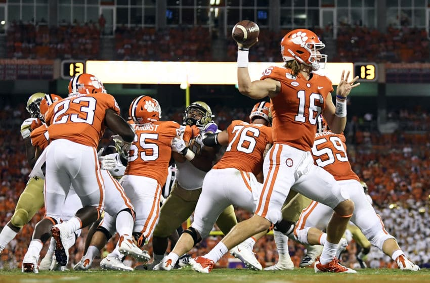 CLEMSON, SOUTH CAROLINA - AUGUST 29: Quarterback Trevor Lawrence #16 of the Clemson Tigers attempts a pass against the Georgia Tech Yellow Jackets during the football game at Memorial Stadium on August 29, 2019 in Clemson, South Carolina. (Photo by Mike Comer/Getty Images)