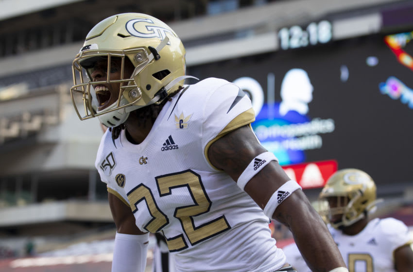 PHILADELPHIA, PA - SEPTEMBER 28: Kaleb Oliver #22 of the Georgia Tech Yellow Jackets reacts against the Temple Owls at Lincoln Financial Field on September 28, 2019 in Philadelphia, Pennsylvania. The Temple Owls defated the Georgia Tech Yellow Jackets 24-2. (Photo by Mitchell Leff/Getty Images)