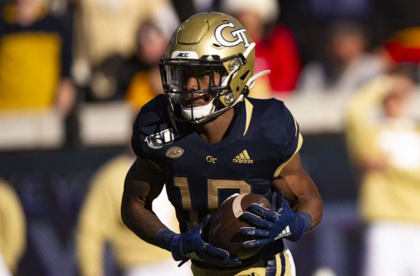 ATLANTA, GA - NOVEMBER 2: Ahmarean Brown #10 of the Georgia Tech Yellow Jackets makes a reception for a 51 yard touchdown during the first half of a game against the Pittsburgh Panthers at Bobby Dodd Stadium on November 2, 2019 in Atlanta, Georgia. (Photo by Carmen Mandato/Getty Images)