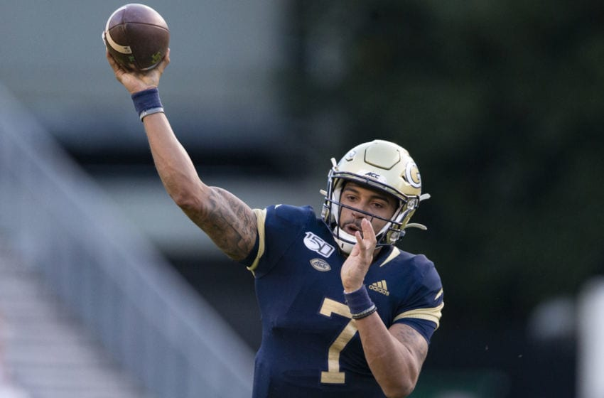 ATLANTA, GA - NOVEMBER 2: Lucas Johnson #7 of the Georgia Tech Yellow Jackets looks to pass during the second half of a game against the Pittsburgh Panthers at Bobby Dodd Stadium on November 2, 2019 in Atlanta, Georgia. (Photo by Carmen Mandato/Getty Images)
