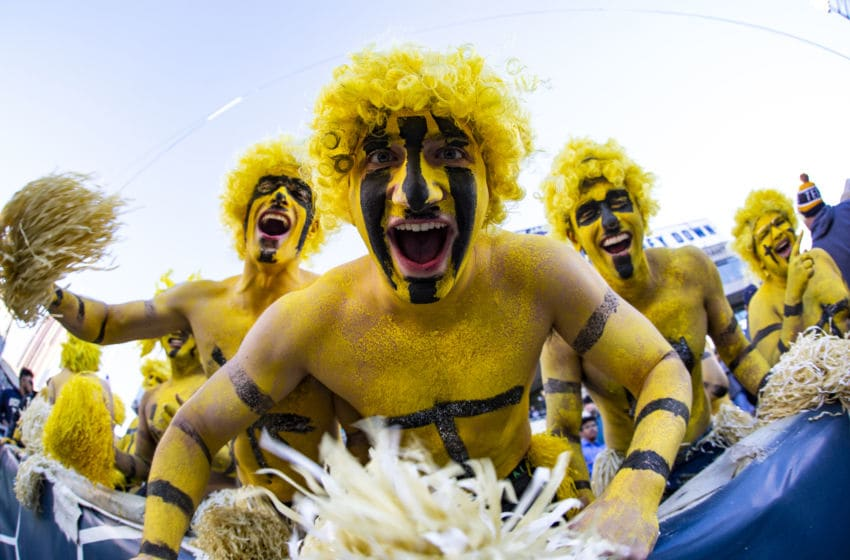 ATLANTA, GA - NOVEMBER 2: Georgia Tech Yellow Jackets fans react during the first half of a game against the Pittsburgh Panthers at Bobby Dodd Stadium on November 2, 2019 in Atlanta, Georgia. (Photo by Carmen Mandato/Getty Images)