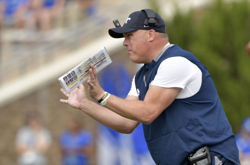 DURHAM, NORTH CAROLINA - OCTOBER 12: Head coach Geoff Collins of the Georgia Tech Yellow Jackets reacts during the first half of their game against the Duke Blue Devils at Wallace Wade Stadium on October 12, 2019 in Durham, North Carolina. (Photo by Grant Halverson/Getty Images)