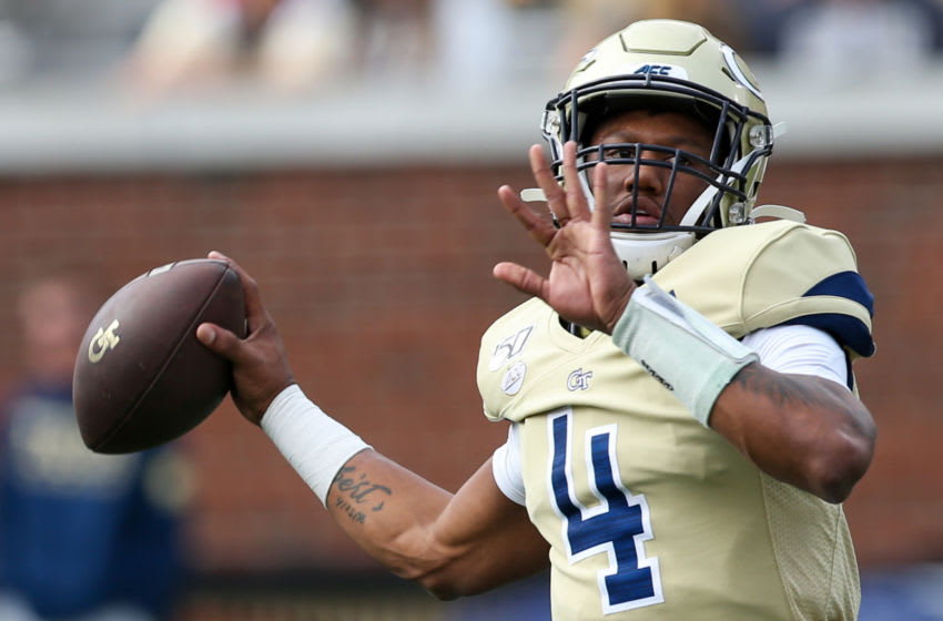 ATLANTA, GA - NOVEMBER 30: James Graham #4 of the Georgia Tech Yellow Jackets looks to pass prior to the start of the game against the Georgia Bulldogs at Bobby Dodd Stadium on November 30, 2019 in Atlanta, Georgia. (Photo by Carmen Mandato/Getty Images)