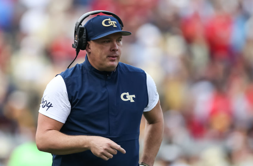 ATLANTA, GA - NOVEMBER 30: Head coach Geoff Collins of the Georgia Tech Yellow Jackets looks on during the second half of the game against the Georgia Bulldogs at Bobby Dodd Stadium on November 30, 2019 in Atlanta, Georgia. (Photo by Carmen Mandato/Getty Images)