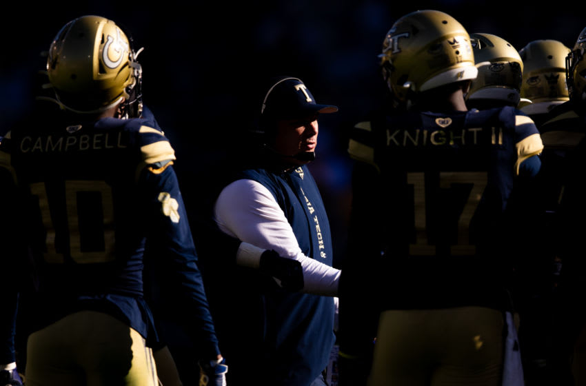 ATLANTA, GA - NOVEMBER 02: Head coach Geoff Collins of the Georgia Tech Yellow Jackets looks on during a game against the Pittsburgh Panthers at Bobby Dodd Stadium on November 2, 2019 in Atlanta, Georgia. (Photo by Carmen Mandato/Getty Images)