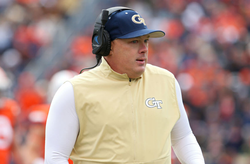 CHARLOTTESVILLE, VA - NOVEMBER 09: Head coach Geoff Collins of the Georgia Tech Yellow Jackets in the second half during a game against the Virginia Cavaliers at Scott Stadium on November 9, 2019 in Charlottesville, Virginia. (Photo by Ryan M. Kelly/Getty Images)