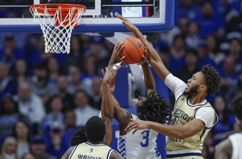 LEXINGTON, KY - DECEMBER 14: James Banks III #1 of the Georgia Tech Yellow Jackets blocks the shot of c #3 of the Kentucky Wildcats during the first half at Rupp Arena on December 14, 2019 in Lexington, Kentucky. (Photo by Michael Hickey/Getty Images)
