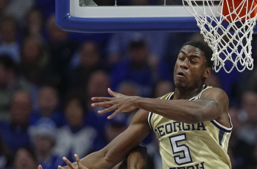 LEXINGTON, KY - DECEMBER 14: Moses Wright #5 of the Georgia Tech Yellow Jackets blocks the shot of Tyrese Maxey #3 of the Kentucky Wildcats and draws a technical foul during the first half at Rupp Arena on December 14, 2019 in Lexington, Kentucky. (Photo by Michael Hickey/Getty Images)