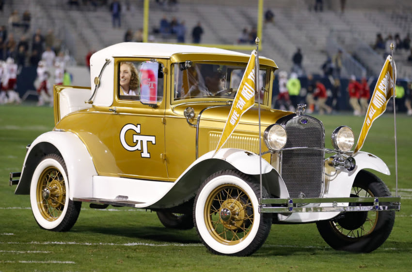 ATLANTA, GA - NOVEMBER 21: The Ramblin Wreck is driven prior to game of the Georgia Tech Yellow Jackets against the North Carolina State Wolfpack at Bobby Dodd Stadium on November 21, 2019 in Atlanta, Georgia. (Photo by Todd Kirkland/Getty Images)