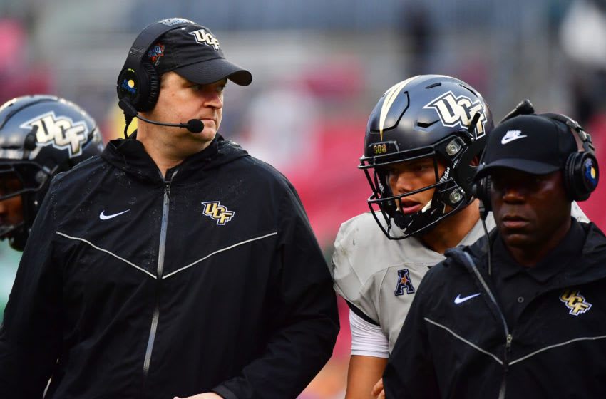 TAMPA, FLORIDA - DECEMBER 23: Head coach Josh Heupel of the UCF Knights looks on during the first quarter against the Marshall Thundering Herd at the Bad Boy Mowers Gasparilla Bowl at Raymond James Stadium on December 23, 2019 in Tampa, Florida. (Photo by Julio Aguilar/Getty Images)