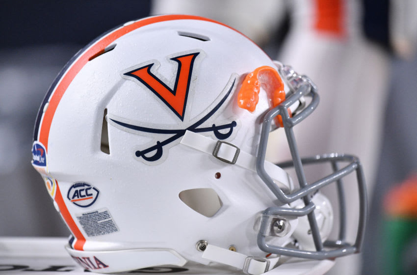MIAMI, FLORIDA - DECEMBER 30: A general view of the Virginia Cavaliers helmet used for the Capital One Orange Bowl against the Florida Gators at Hard Rock Stadium on December 30, 2019 in Miami, Florida. (Photo by Mark Brown/Getty Images)