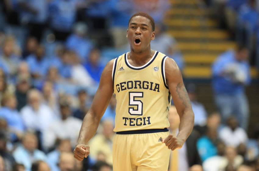 CHAPEL HILL, NORTH CAROLINA - JANUARY 04: Moses Wright #5 of the Georgia Tech Yellow Jackets reacts after a play against the North Carolina Tar Heels during their game at Dean Smith Center on January 04, 2020 in Chapel Hill, North Carolina. (Photo by Streeter Lecka/Getty Images)