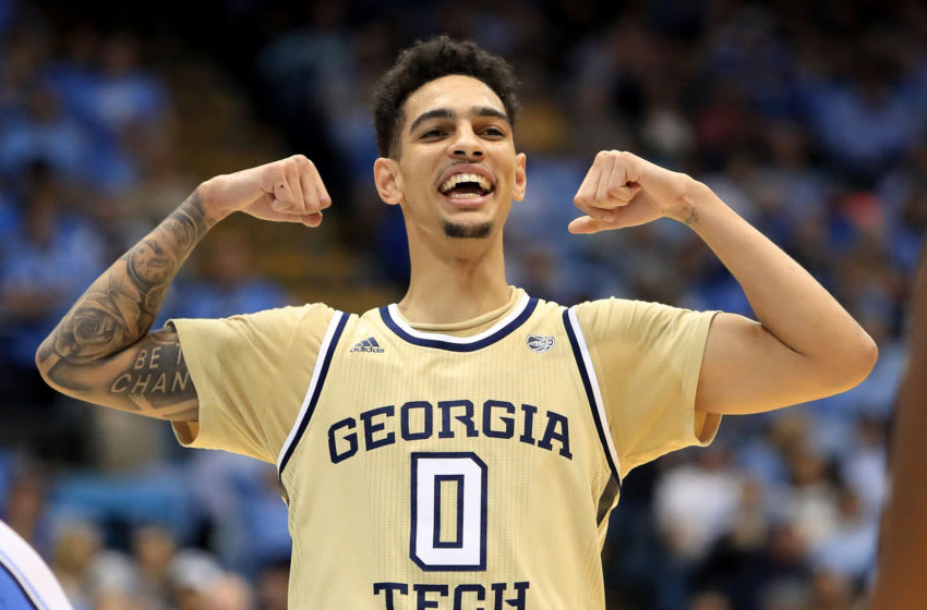 CHAPEL HILL, NORTH CAROLINA - JANUARY 04: Michael Devoe #0 of the Georgia Tech Yellow Jackets reacts after a play against the North Carolina Tar Heels during their game at Dean Smith Center on January 04, 2020 in Chapel Hill, North Carolina. (Photo by Streeter Lecka/Getty Images)