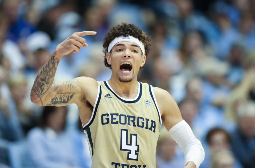 CHAPEL HILL, NC - JANUARY 04: Jordan Usher #4 of Georgia Tech signals to a teammate during a game between Georgia Tech and North Carolina at Dean E. Smith Center on January 4, 2020 in Chapel Hill, North Carolina. (Photo by Andy Mead/ISI Photos/Getty Images).