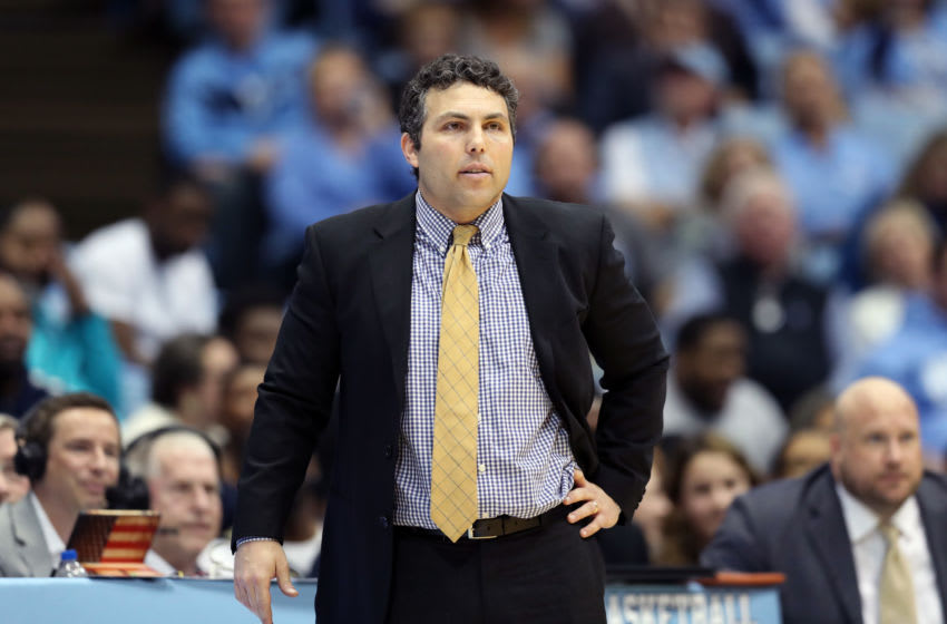 CHAPEL HILL, NC - JANUARY 04: Head coach Josh Pastner of Georgia Tech during a game between Georgia Tech and North Carolina at Dean E. Smith Center on January 4, 2020 in Chapel Hill, North Carolina. (Photo by Andy Mead/ISI Photos/Getty Images).